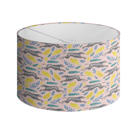 Greyhound Pattern in Petal Pink Handmade to order Lampshade - 3 Sizes Available