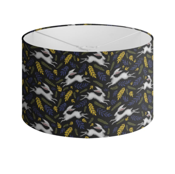 White Hare Pattern in Midnight Black Handmade to order Lampshade - 3 Sizes Available