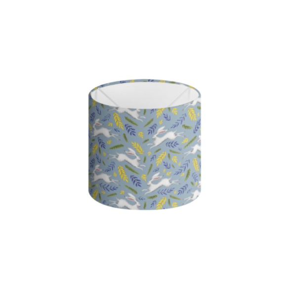 White Hare Pattern in Sky Blue Handmade to order Lampshade - 3 Sizes Available