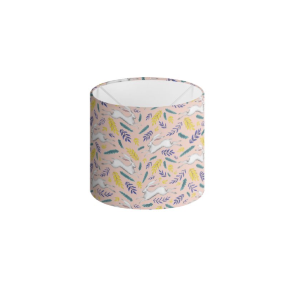 White Hare Pattern in Petal Pink Handmade to order Lampshade - 3 Sizes Available