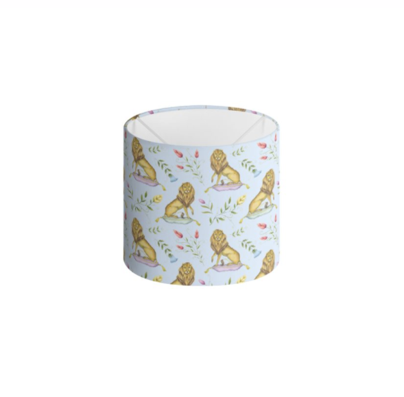 Leo et Flores Pattern in Sky Blue Handmade to order Lampshade - 3 Sizes Available