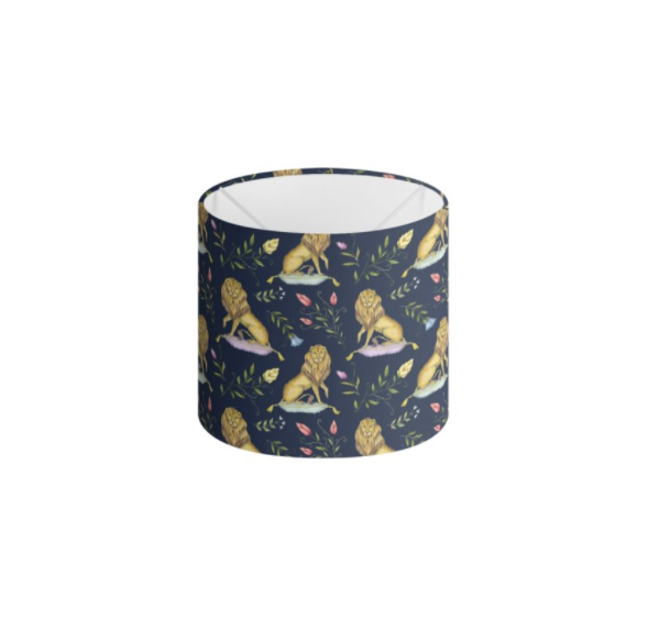 Leo et Flores Pattern in Navy Blue Handmade to order Lampshade - 3 Sizes Available