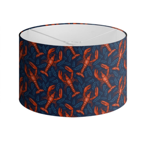 Lobster Pattern in Deep Sea Blue Handmade to order Lampshade - 3 Sizes Available