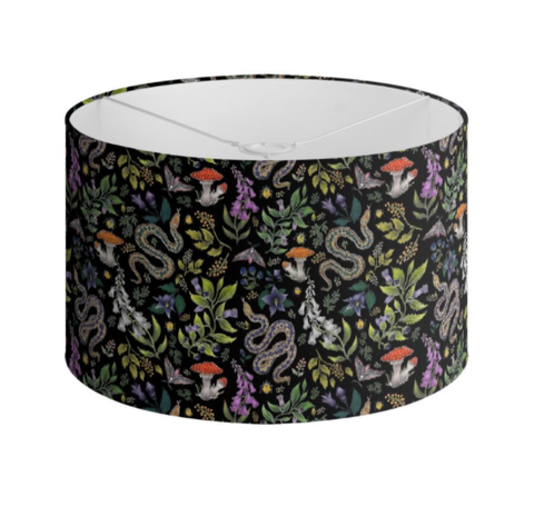 Poisonous Pattern in Midnight Black Handmade to order Lampshade - 3 Sizes Available