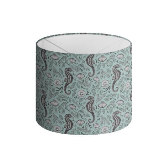 Seahorse Pattern in Seafoam Blue Handmade to order Lampshade - 3 Sizes Available