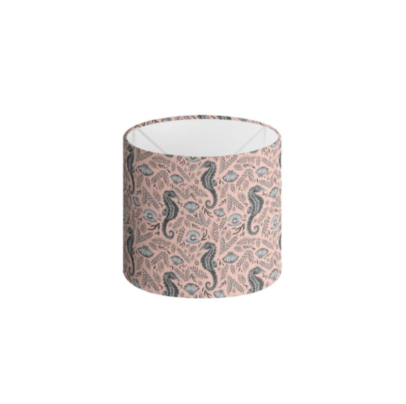 Seahorse Pattern in Coral Pink Handmade to order Lampshade - 3 Sizes Available