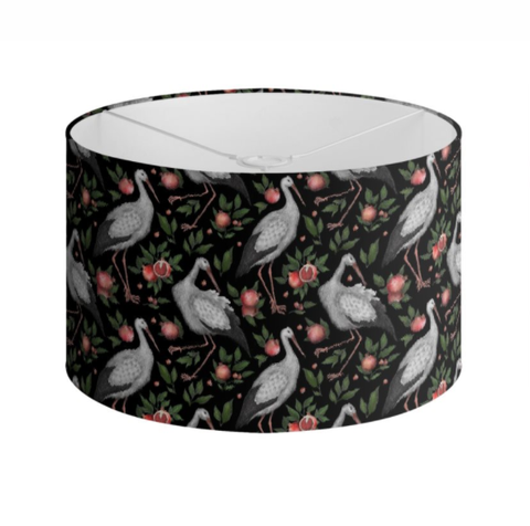 Storks and Pomegranates Pattern Handmade to order Lampshade - 3 Sizes Available