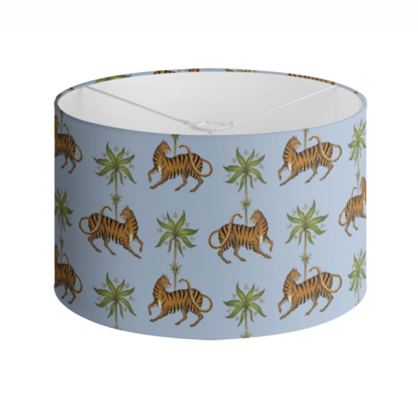 Tiger and Palms Pattern in Powder Blue Handmade to order Lampshade - 3 Sizes Available