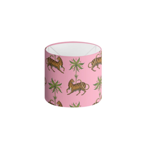 Tiger and Palms Pattern in Florida Pink Handmade to order Lampshade - 3 Sizes Available