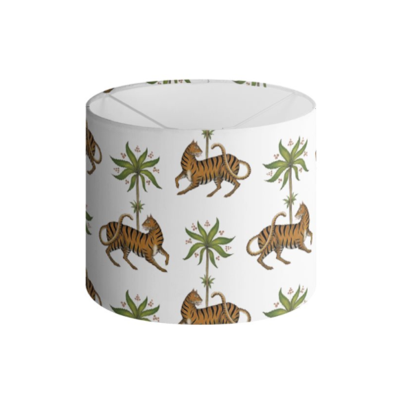 Tiger and Palms Pattern in Pure White Handmade to order Lampshade - 3 Sizes Available