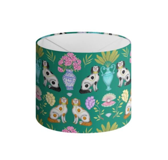 Miami China Dogs Pattern in Emerald Green Handmade to order Lampshade - 3 Sizes Available