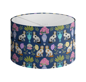 Miami China Dogs Pattern in Sapphire Blue Handmade to order Lampshade - 3 Sizes Available