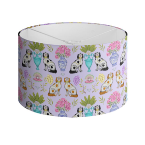 Miami China Dogs Pattern in Lavender Handmade to order Lampshade - 3 Sizes Available