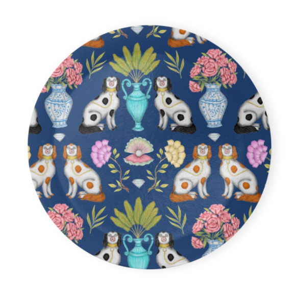 China Dogs Pattern in Navy Blue Coaster Set of 4 - Made to Order in London