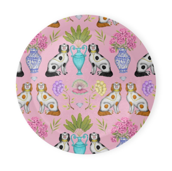 China Dogs Pattern in Miami Pink Coaster Set of 4 - Made to Order in London
