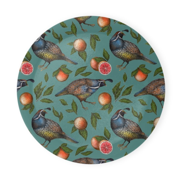 Quails Pattern Coaster Set of 4 - Made to Order in London