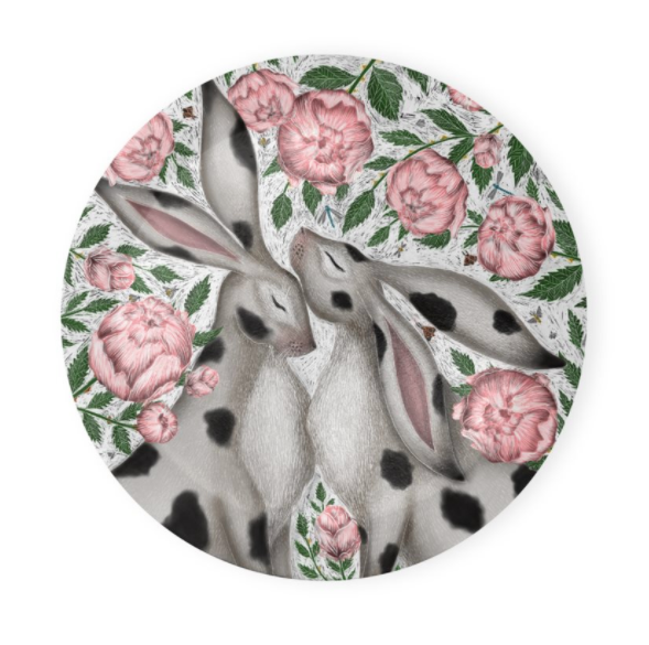 Spotty Rabbits and Peonies Coaster Set of 4 - Made to Order in London