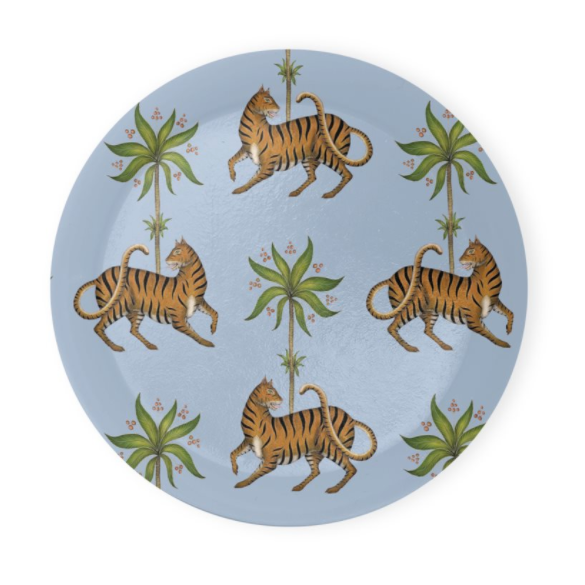Tiger & Palm Blue Pattern Coaster Set of 4 - Made to Order in London