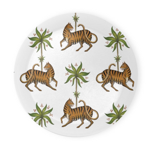 Tiger & Palm White Pattern Coaster Set of 4 - Made to Order in London