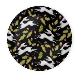 Hares and Acorns in Midnight Black Coaster Set of 4 - Made to Order in London