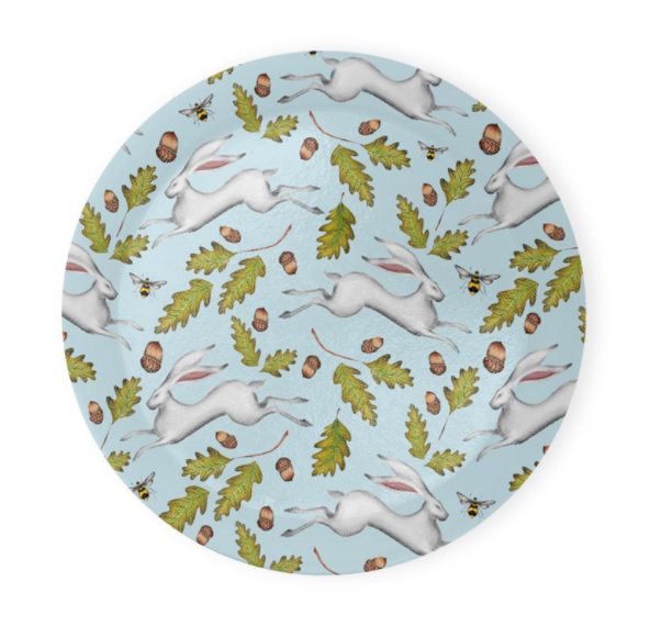 Hares and Acorns in Sky Blue Coaster Set of 4 - Made to Order in London