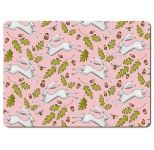 Hares and Acorns in Rose Pink Wooden Placemats - Handmade to order in London