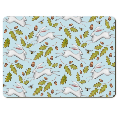 Hares and Acorns in Sky Blue Wooden Placemats - Handmade to order in London
