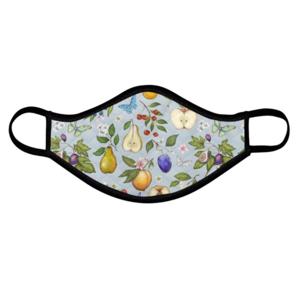 Fruits Pattern Blue Face Mask - Handmade to Order