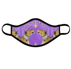 Nouveau Leopards in Lilac Face Mask - Handmade to Order