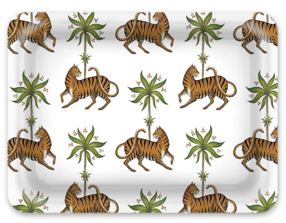 Custom Listing - Melamine Tray - Available in 2 sizes - Tiger in White