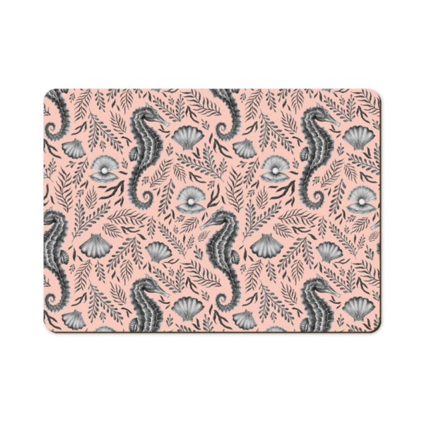 Seahorse Pattern in Coral Wooden Placemats - Handmade to order in London