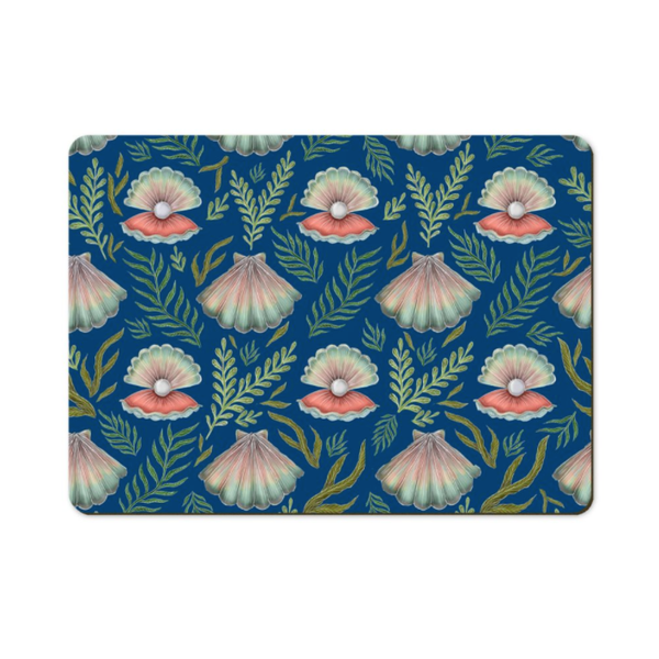 Shell Pattern in Deep Blue Wooden Placemats - Handmade to order in London
