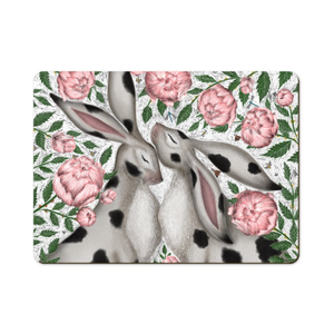 Spotty Hares and Peonies Wooden Placemats - Handmade to order in London