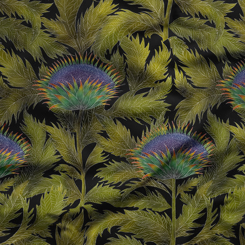 Artichoke Thistle Pattern Fabric