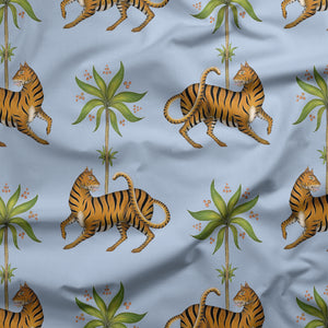 Tiger & Palm Pattern in Blue Fabric
