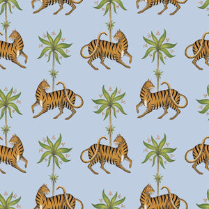 Tiger & Palm Pattern Wallpaper