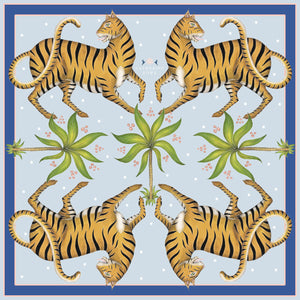 Tigers & Palms in Darjeeling Dusk Silk Scarf - Available in 2 Sizes - 100% Georgette silk or Vegan Chiffon Silk - Handmade to Order in London