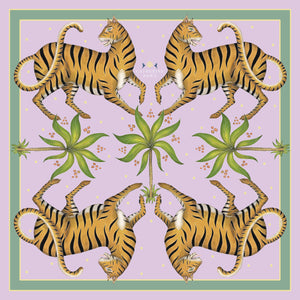 Tigers & Palms in Jaipur Jewel Silk Scarf - Available in 2 Sizes - 100% Georgette silk or Vegan Chiffon Silk - Handmade to Order in London