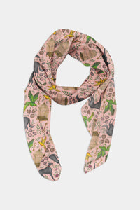 Amsterdam Pattern Peach Pink Chiffon Scarf - 100% Silk or Vegan Silk