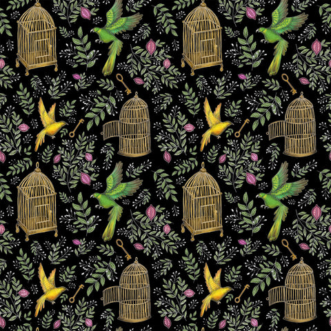 Birds & Cages Pattern Wallpaper