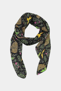 Birds and Cages Pattern Chiffon Scarf - 100% Silk or Vegan Silk