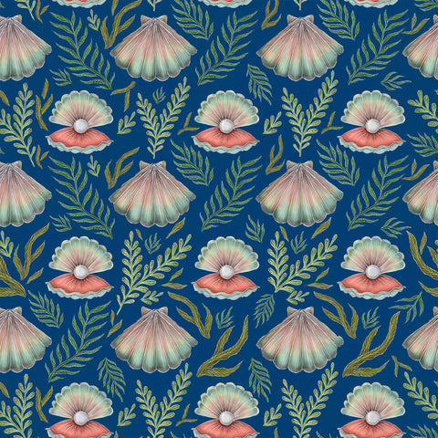 Shell Pattern in Deep Blue Wallpaper