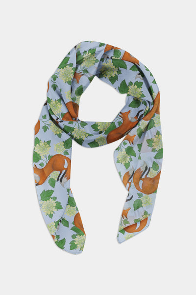 Fox Pattern in Blue Chiffon Scarf - 100% Silk or Vegan Silk