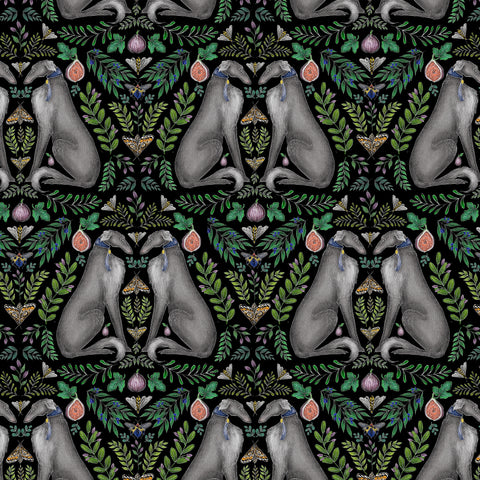 Borzoi Wallpaper in Midnight