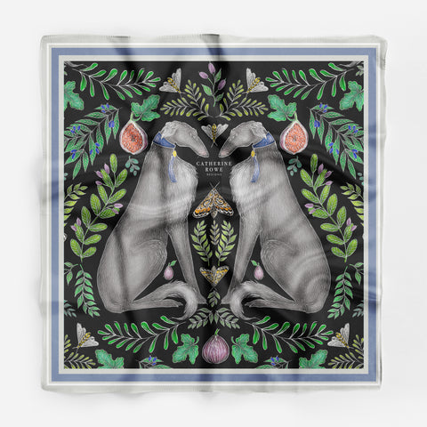 Borzoi Wolfhound Silk Scarf - Available in 2 Sizes - 100% Silk or Vegan Silk - Handmade to Order in London