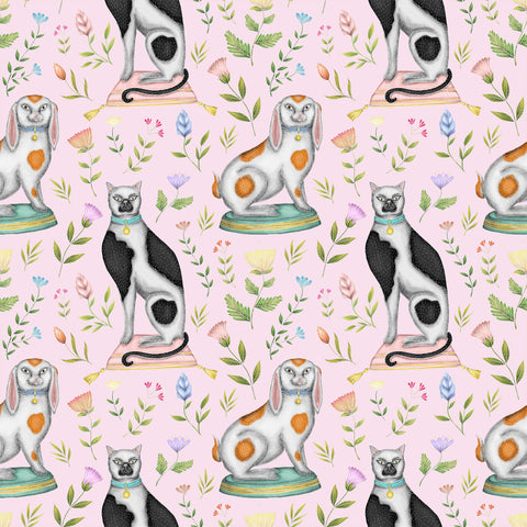 China Cats & Rabbits Wallpaper in Petal Pink