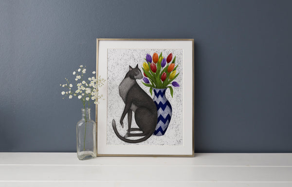 Cat with Tulips Print