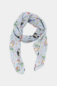 China Cats and Rabbits Pattern in Powder Blue Chiffon Scarf - 100% Silk or Vegan Silk