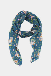 China Cats and Rabbits Pattern in Teal Chiffon Scarf - 100% Silk or Vegan Silk