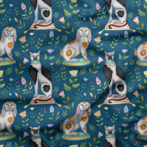 China Cats and Rabbits in Teal Fabric